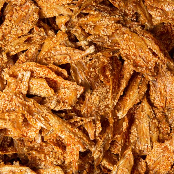 2008 辣比目鲷鱼干 Spicy Roasted Sesame Himego Fish-Cá mè dòn cay